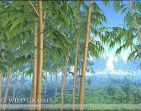 3D asset Low Polygon Golden Bamboo