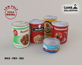 Food Cans lowpoly 3D asset