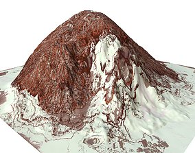 Red Snow ICE Mountain Canyon Desert Low 3D asset 4
