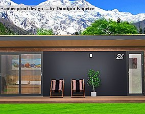 3D asset mobile hotel room mobile home tiny house vacation