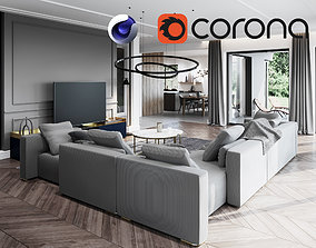 3D Living Room and Kitchen Scene for Cinema 4D and Corona
