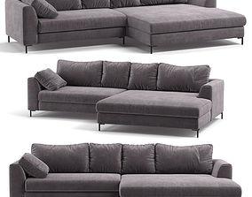 3D model Kare Corner Sofa Black Gianna Velvet Grey Right