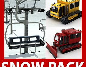 3D model Chair lift snowcat snowplow snowplough