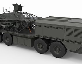 3D Military truck with Ripsaw tracked vehicle
