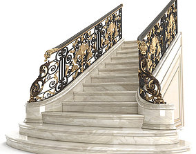 3D model Classic marble staircase with wrought iron
