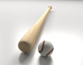 3D Baseball Bat and Ball