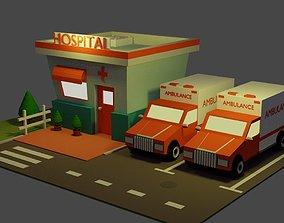 3D model Mini Hospital and Two Ambulances