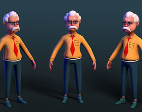 cartoon simple lowpoly game character Professor 3D model