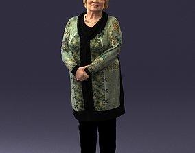 Elderly woman in a green jacket 0106 3D Print Ready