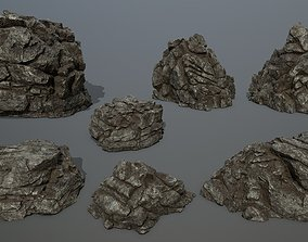 3D model game-ready mosy bump rocks