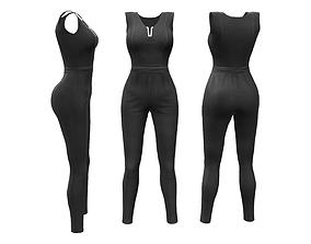 3D model V-Neck Jumpsuit