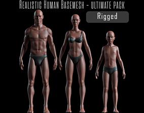 3D asset Realistic Human Body Basemesh - UVMapped -