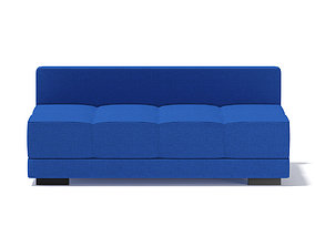 3D Blue Armless Sofa