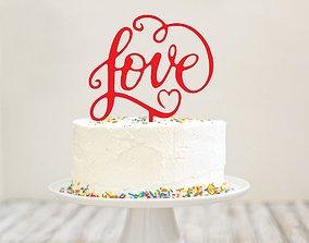LOVE THIN CAKE TOPPER 3D printable model