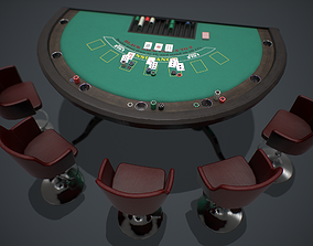 3D model Blackjack table PBR