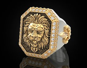 3D print model A large ring with a lion and an 3
