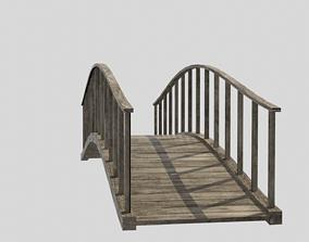 3D asset VR / AR ready wooden bridge