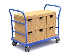 Warehouse Trolley with Storage Boxes 3D model