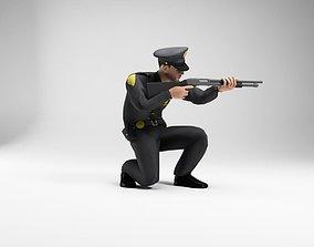 polieman gun in hand ready to shoot low 3D model 3