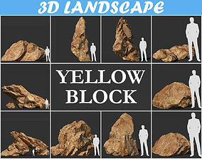 3D model Low poly sharp blocky Yellow rock formation 3
