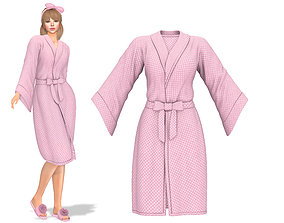 Female Front Tied Bathrobe 3D model low-poly