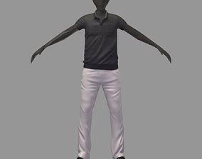 3D avatar casual set grey polo white pants sneakers