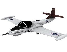 Lowpoly A-37 Aircraft Model 3D asset