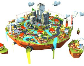 3D model city industry and garbage boom