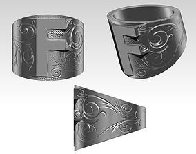 F letter symbol logo carved pattern 3D printable model 1