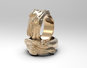Ring with two horse heads 3D printable model