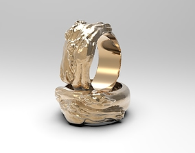 3D print model Ring with two horse heads