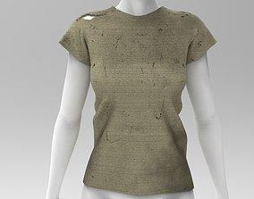 FREE Woman Worn T Shirt - Marvelous Designer - 3D asset 1