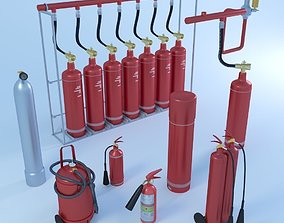 3D asset Fire extinguishers game ready pack