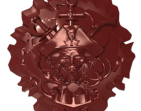 Pirate skull Bas relief for CNC 3D print model