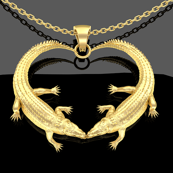 Crocodile Heart Pendant jewelry Gold 3D print model