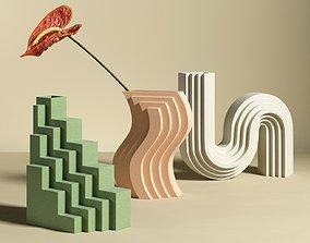 Anthurium with Geometric Vases 3D