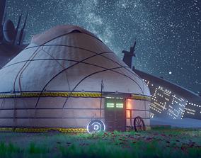 3D model of a yurt