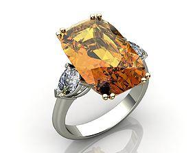 Citrine and Diamond Ring 3D print model