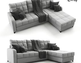 3D model Corner gray sofa bed Valery