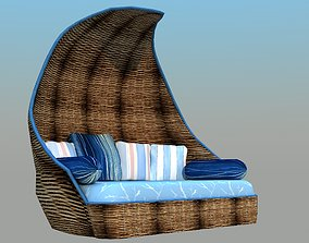 3D asset Wicker Sofa - Low Poly