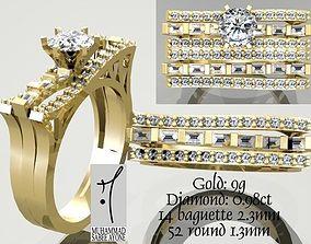 emerald Gold Ring 3D print model