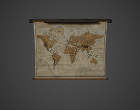 Old World Map Low Poly Game Ready 3D asset
