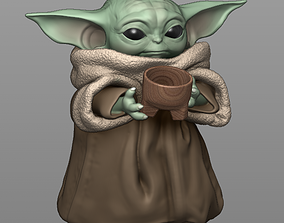 3D print model Baby Yoda With Cup - The Mandalorian
