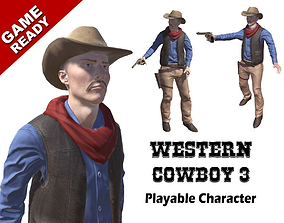 Western Cowboy 3 3D model animated