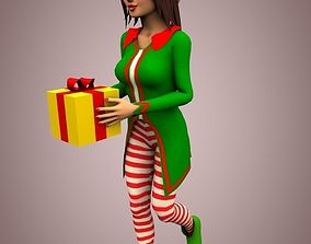 Christmas female 3D asset