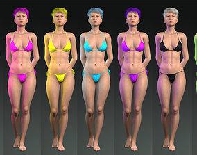 7 colors of bikini set Game ready low poly 3D model 2