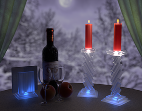 3D asset Set candlesticks and frosted glass napkin holder