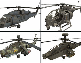 3D asset Helicopter pack 2