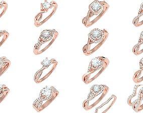 3D model Twist Shank Arm solitaire wedding engagement 1