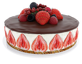 Strawberry cake with berries 3D model